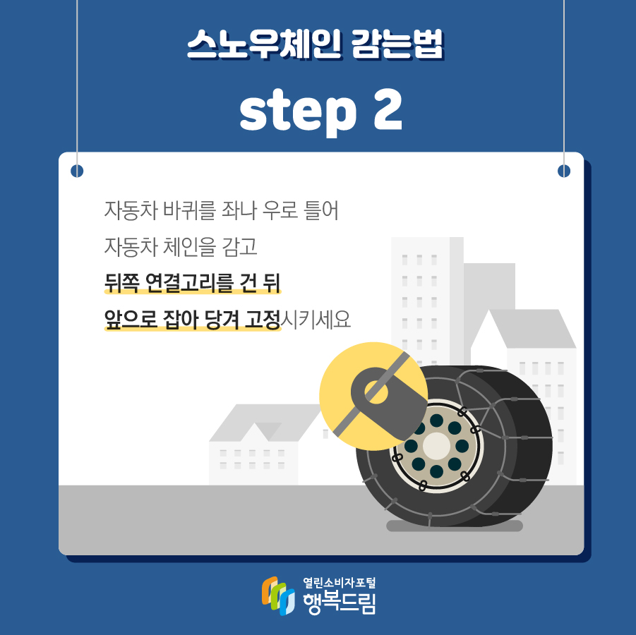 스노우체인 감는법 step 2 자동차 바퀴를 좌나 우로 틀어 자동차 체인을 감고 뒤쪽 연결고리를 건 뒤 앞으로 잡아 당겨 고정시키세요