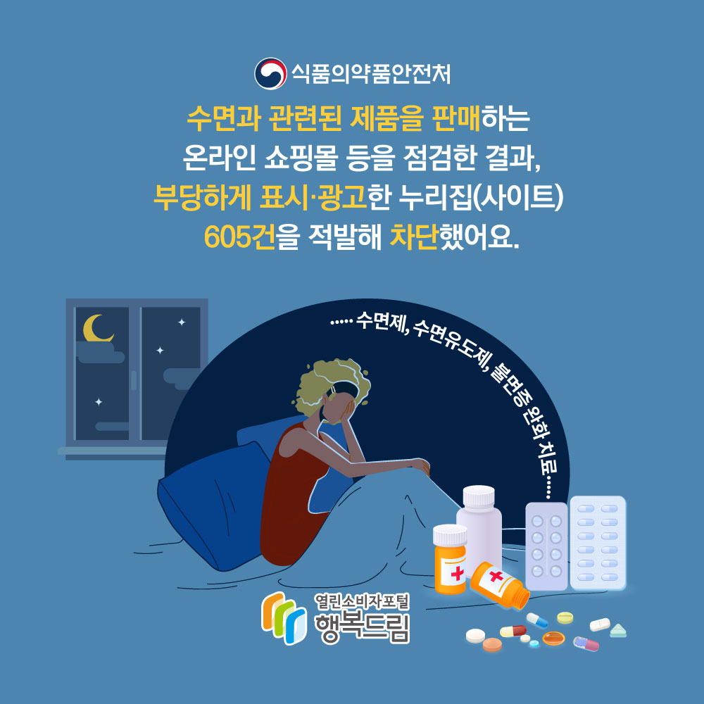 식품의약품안전처 수면과 관련된 제품을 판매하는 온라인 쇼핑몰 등을 점검한 결과, 부당하게 표시·광고한 누리집(사이트) 605건을 적발해 차단했어요. 수면제, 수면유도제, 불면증 완화 치료