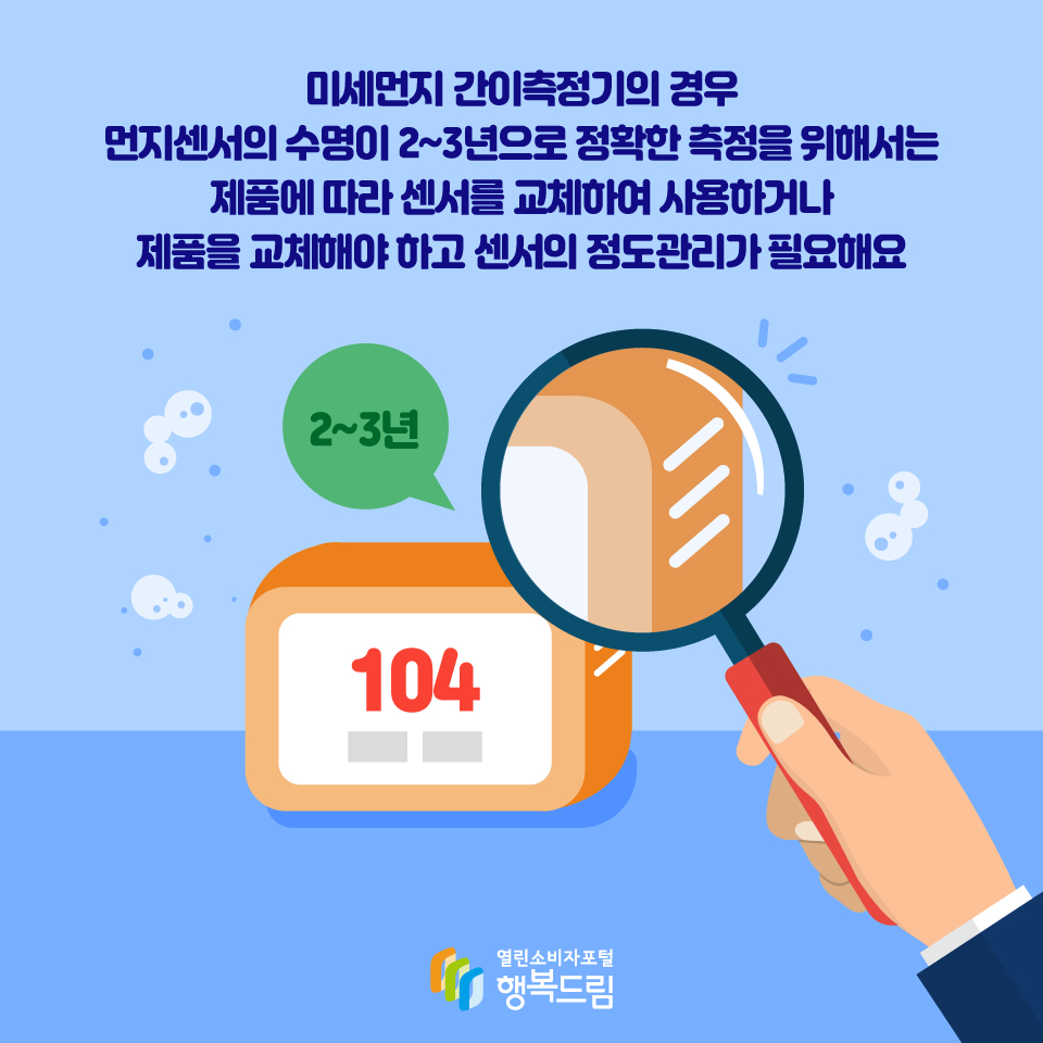 미세먼지 간이측정기의 경우 먼지센서의 수명이 2~3년으로 정확한 측정을 위해서는 제품에 따라 센서를 교체하여 사용하거나 제품을 교체해야 하고 센서의 정도관리가 필요해요