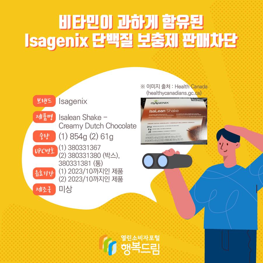 비타민이 과하게 함유된 Isagenix 단백질 보충제 판매차단  브랜드 Isagenix 제품명 Isalean Shake - Creamy Dutch Chocolate 중량 (1) 854g (2) 61g UPC번호 (1) 380331367 (2) 380331380 (박스), 380331381 (통)   유효기간 (1) 2023/10까지인 제품 (2) 2023/10까지인 제품 제조국 미상 ※ 이미지 출처: Health Canada (healthcanadians.gc.ca)