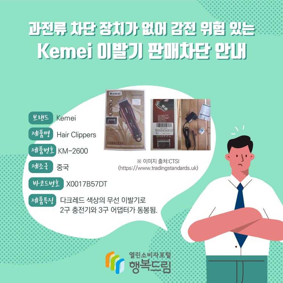 과전류 차단 장치가 없어 감전 위험 있는 Kemei 이발기 판매차단 안내 브랜드 Kemei 제품명 Hair Clippers 제품번호 KM-2600 제조국 중국 바코드번호 X0017B57DT 제품특징 다크레드 색상의 무선 이발기로 2구 충전기와 3구 어댑터가 동봉됨. ※ 이미지 출처:CTSI (https://www.tradingstandards.uk)