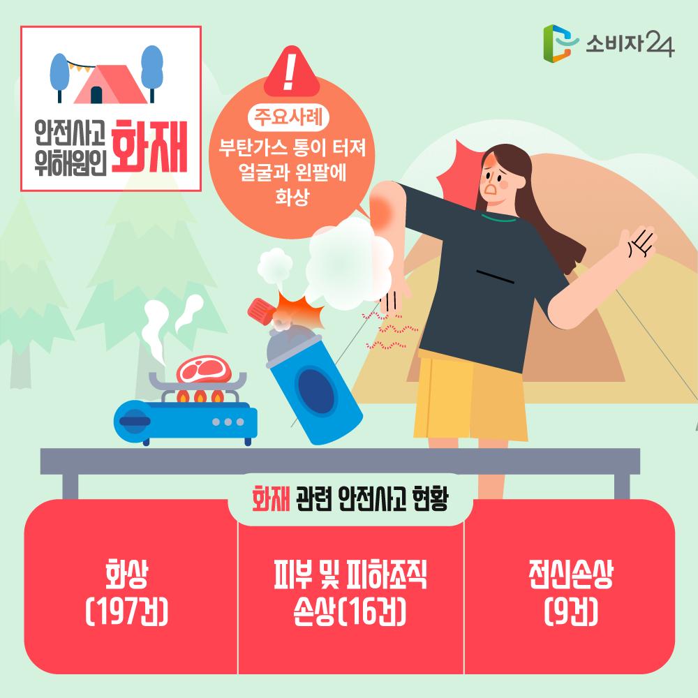 안전사고 위해원인 화재, 주요사례: 부탄가스 통이 터져 얼굴과 왼팔에 화상, 화재 관련 안전사고 현황 : 화상(197건), 피부 및 피하조직 손상(16건), 전신손상(9건)