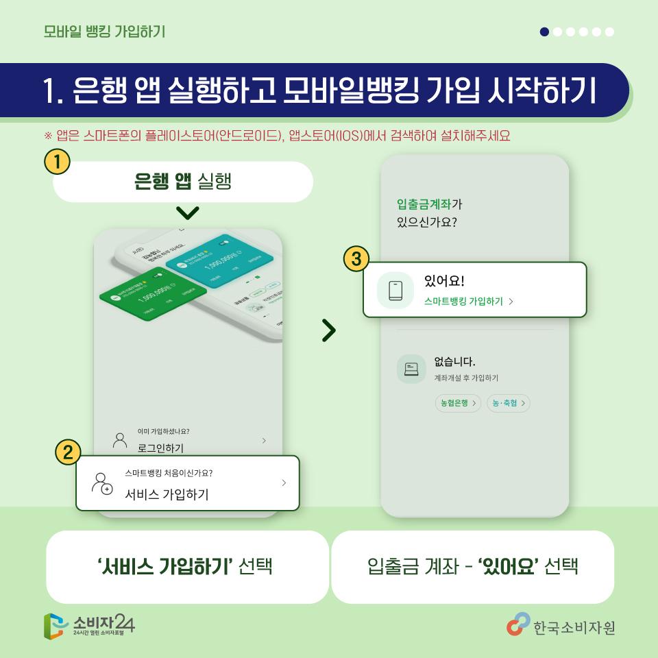 <첫번째, 은행 앱 실행하고 가입 시작하기> 은행 앱을 실행하고, 서비스가입하기, 입출금 계좌 있어요를 선택해주세요~